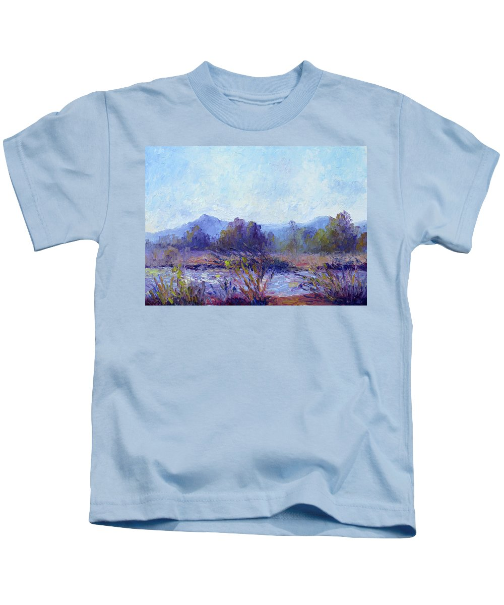Art Kids T-Shirt featuring the painting Santa Ana River by Terry Chacon