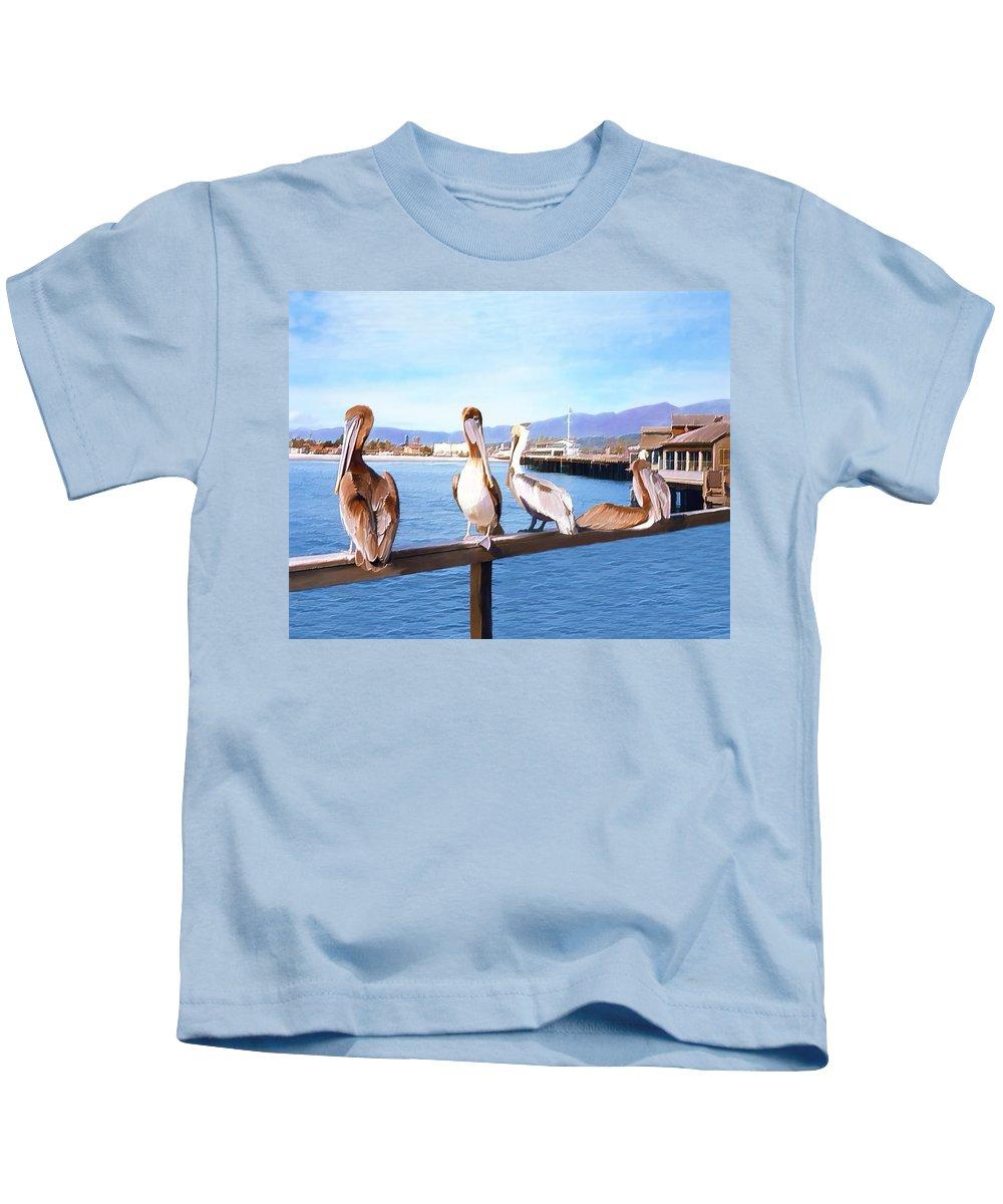 Harbor Kids T-Shirt featuring the photograph Santa Barbara Pelicans by Kurt Van Wagner