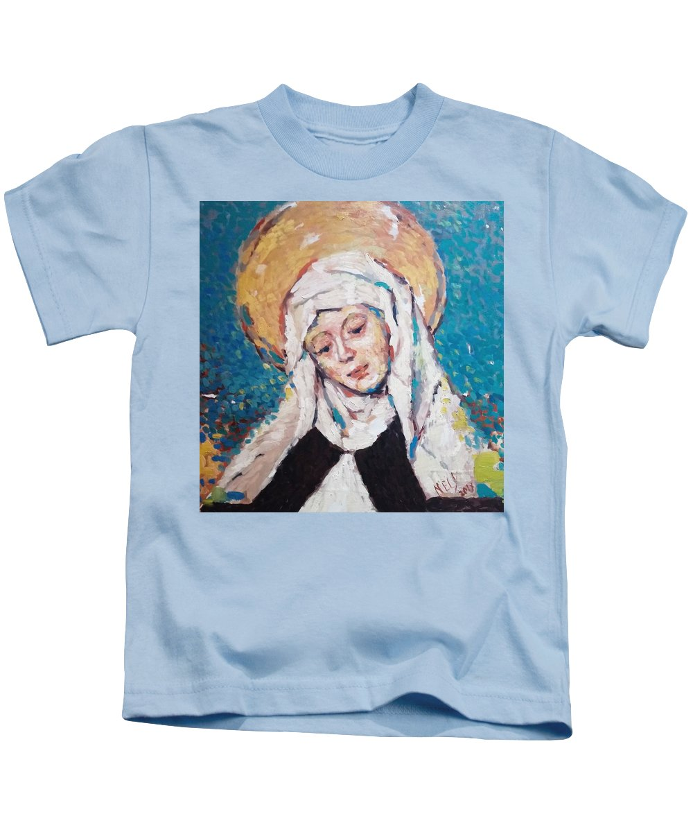 Face Kids T-Shirt featuring the painting Santa by Nelya Pinchuk
