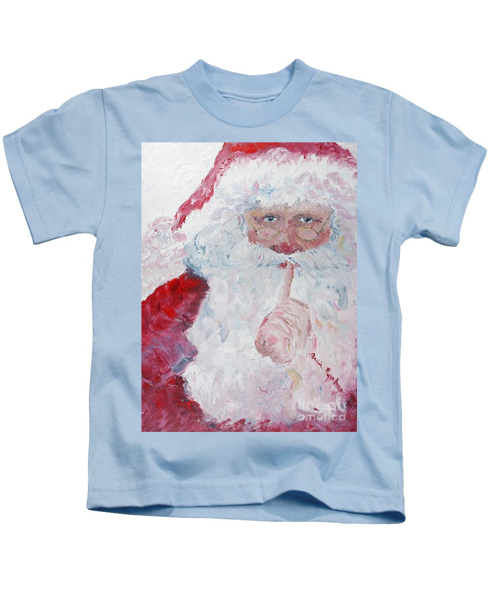 Santa Kids T-Shirt featuring the painting Santa Shhhh by Nadine Rippelmeyer