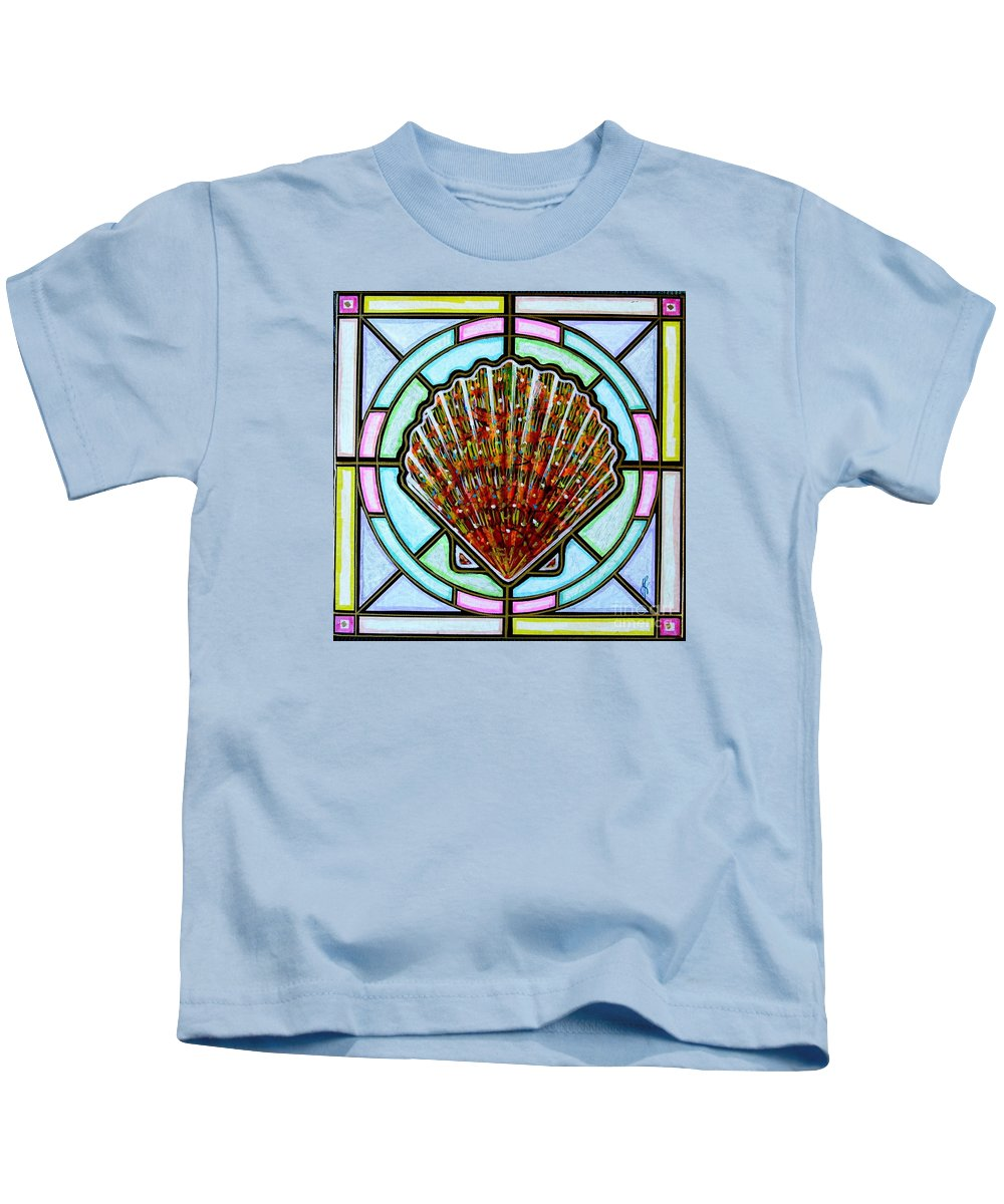 She Shells Kids T-Shirt featuring the painting Scallop Shell 1 by Jim Harris
