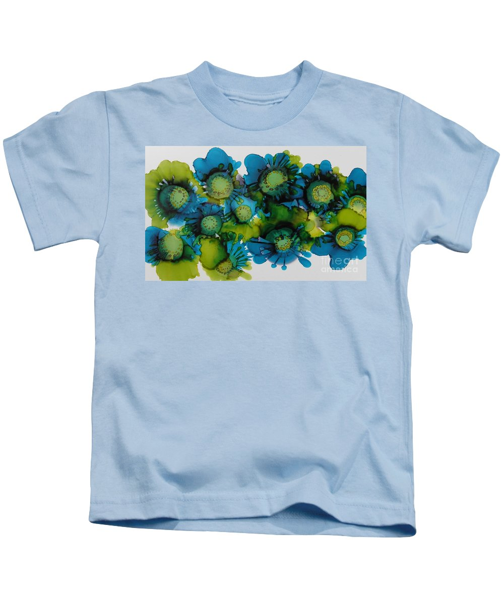 Alcohol Ink Kids T-Shirt featuring the painting Sea Blooms by Beth Kluth