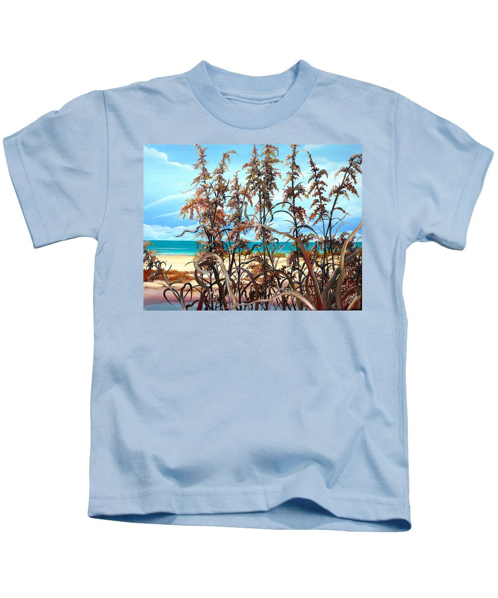 Ocean Painting Sea Oats Painting Beach Painting Seascape Painting Beach Painting Florida Painting Greeting Card Painting Kids T-Shirt featuring the painting Sea Oats by Karin Dawn Kelshall- Best