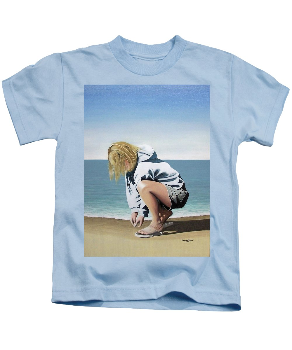 Landscape Kids T-Shirt featuring the painting Sea Shells On The Beach by Kenneth M Kirsch