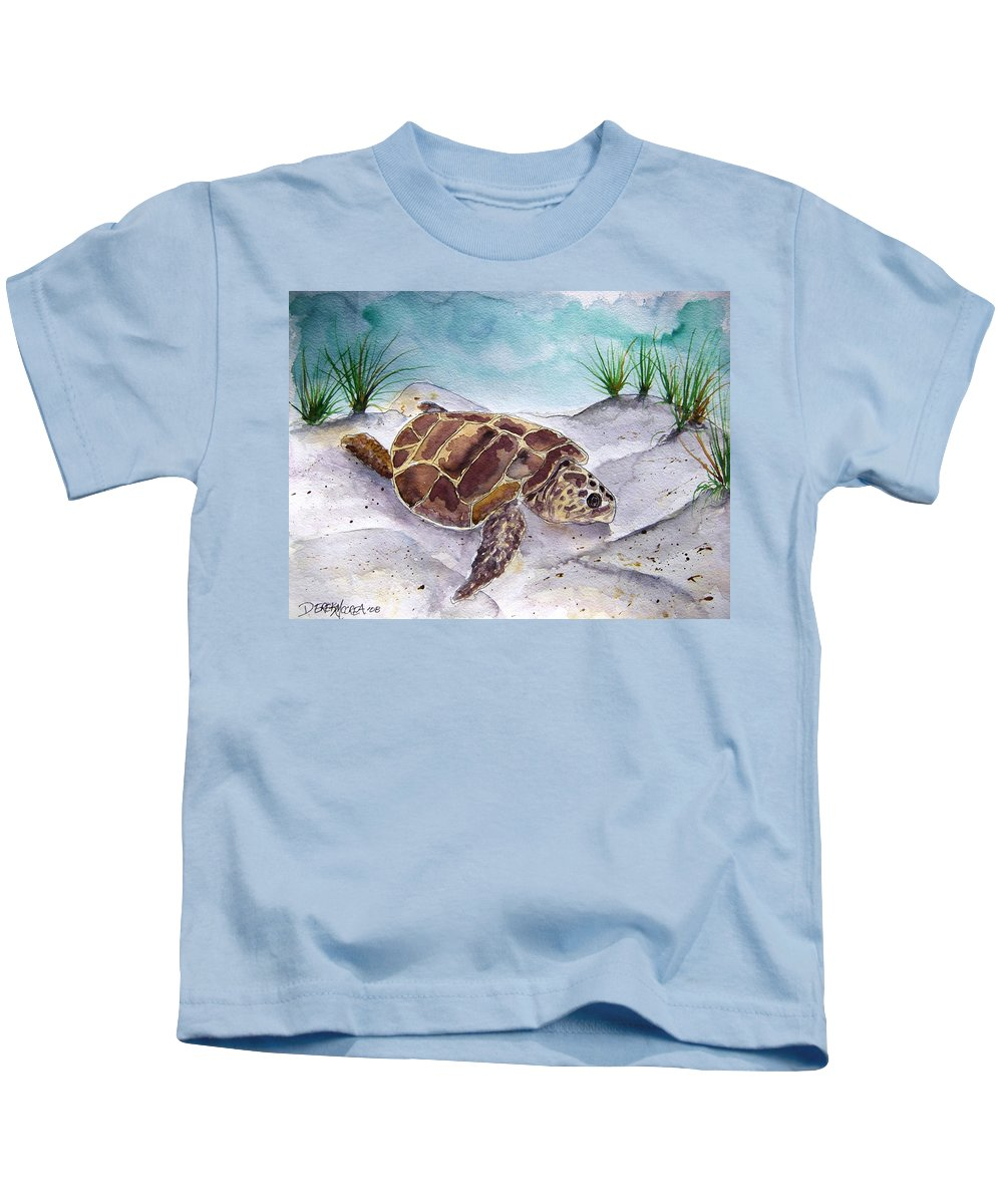 Sea Turtle Kids T-Shirt featuring the painting Sea Turtle 2 by Derek Mccrea
