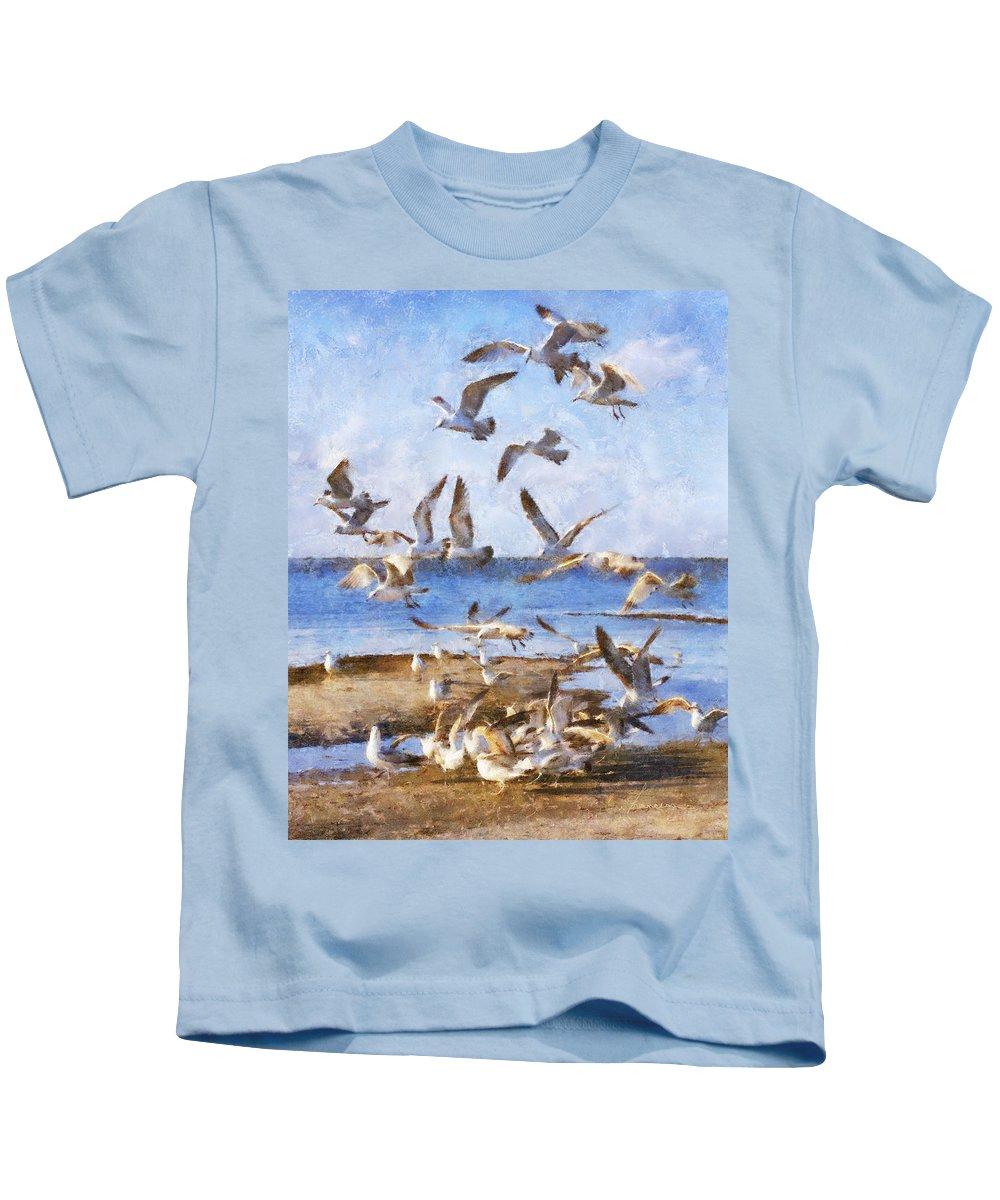 Seagulls Kids T-Shirt featuring the digital art Seagull Convention by Francesa Miller