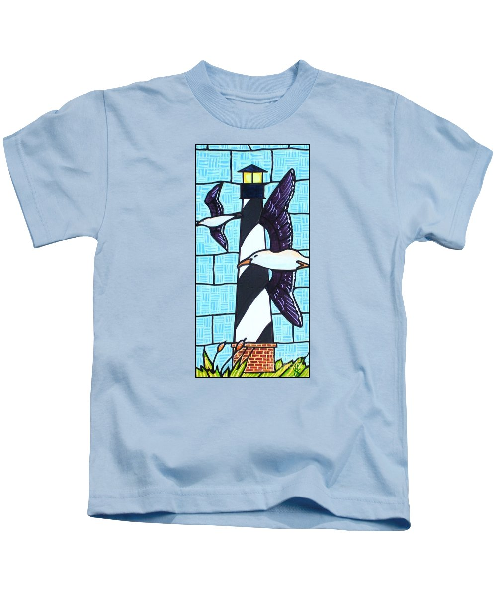Seagulls Kids T-Shirt featuring the painting Seagulls And Lighthouse by Jim Harris