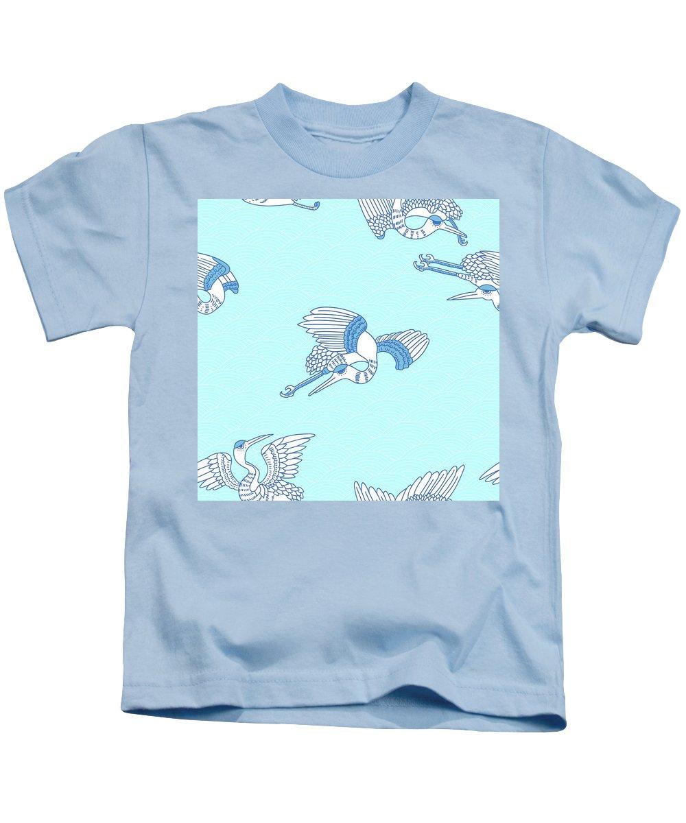 Chinese Kids T-Shirt featuring the digital art Seagulls by Cutequokka2
