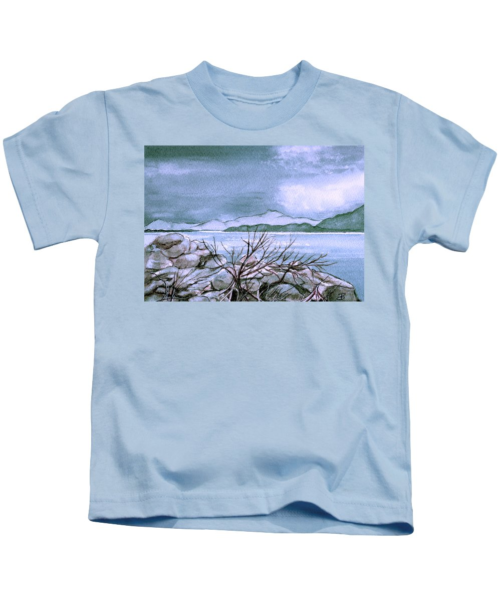 Landscape Kids T-Shirt featuring the painting Seascape by Brenda Owen