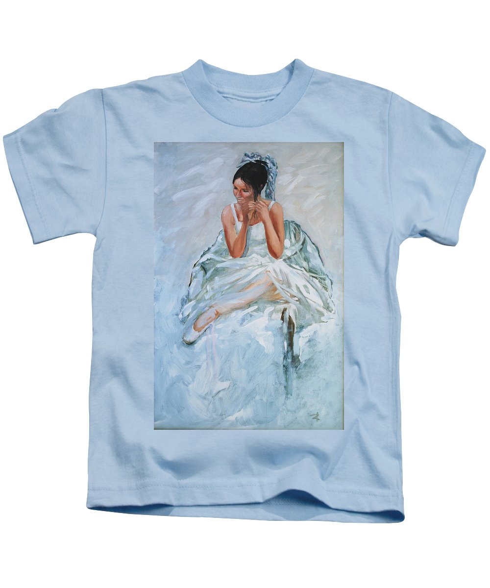 Figurative Kids T-Shirt featuring the painting Seated Dancer by Rick Nederlof