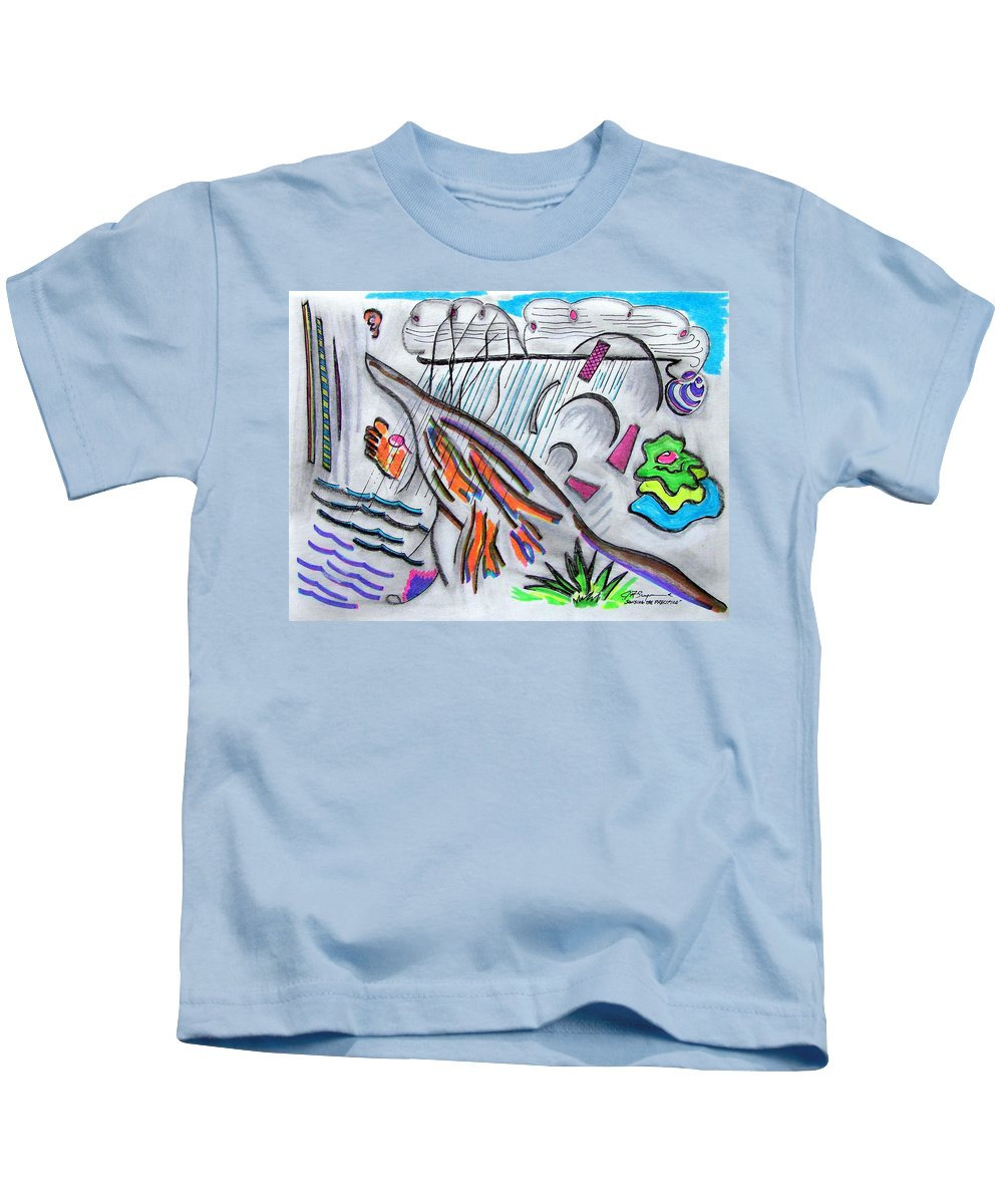 Abstract Drawing Kids T-Shirt featuring the drawing Sensing The Precipice by J R Seymour