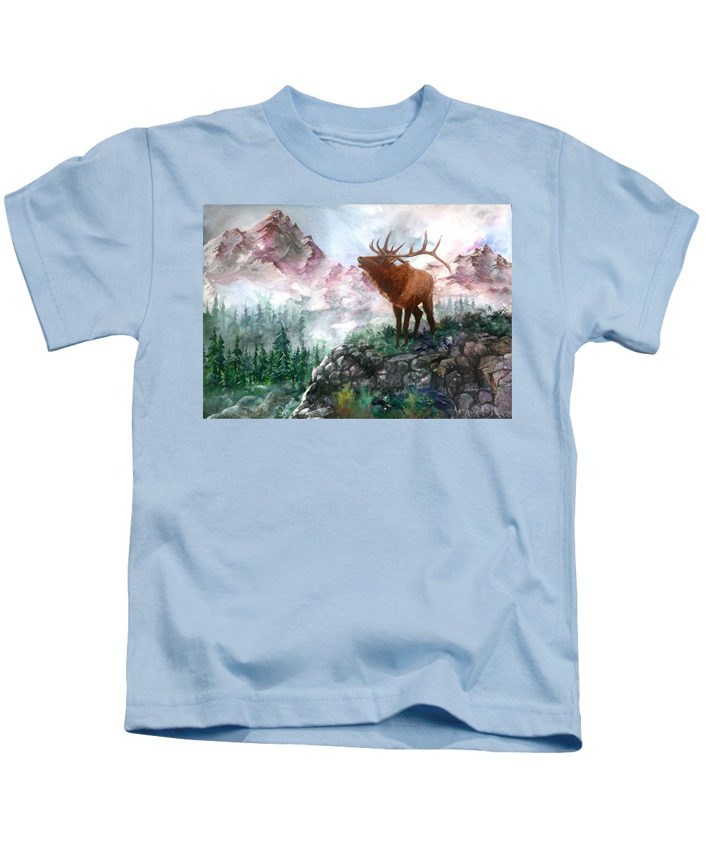 Elk Kids T-Shirt featuring the painting September Song by Sherry Shipley