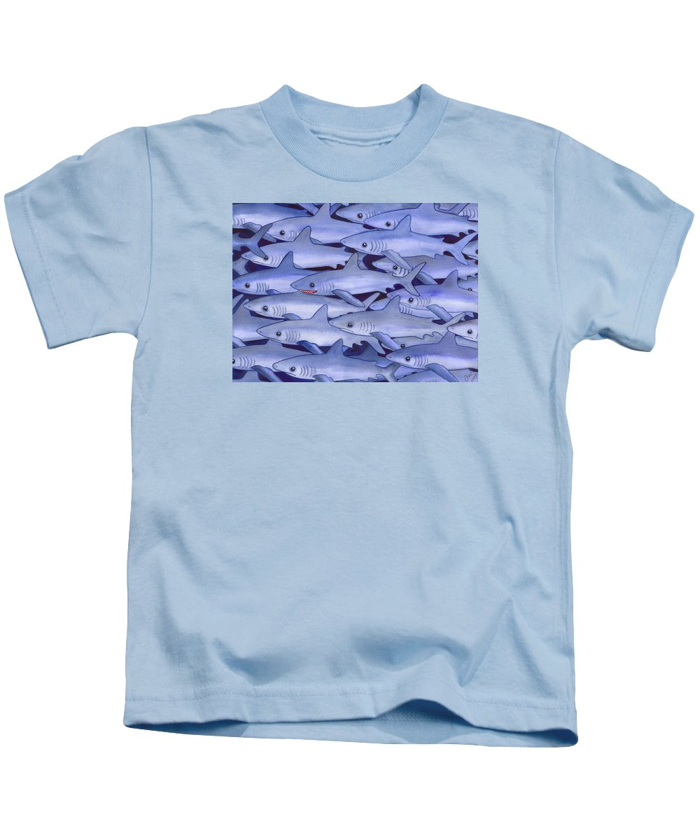 Shark Kids T-Shirt featuring the painting Sharks by Catherine G McElroy