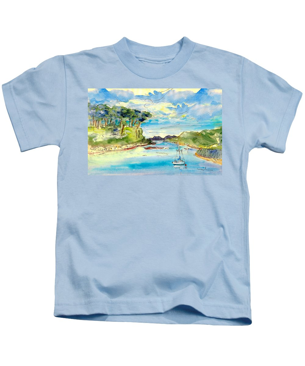 Travel Kids T-Shirt featuring the painting Shieldaig In Scotland 04 by Miki De Goodaboom