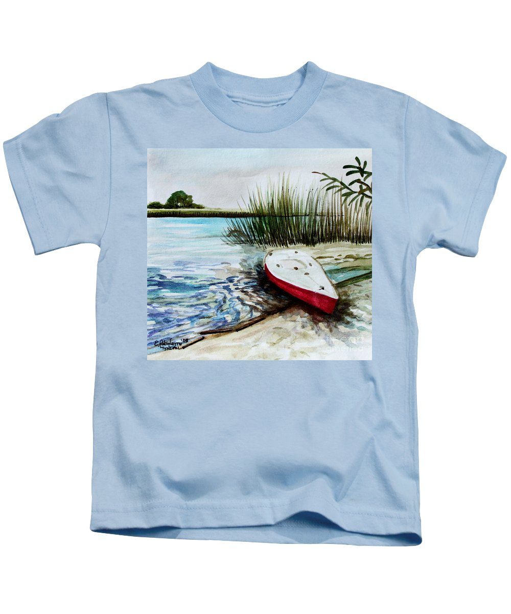 Landscape Kids T-Shirt featuring the painting Ship Ahoy by Elizabeth Robinette Tyndall