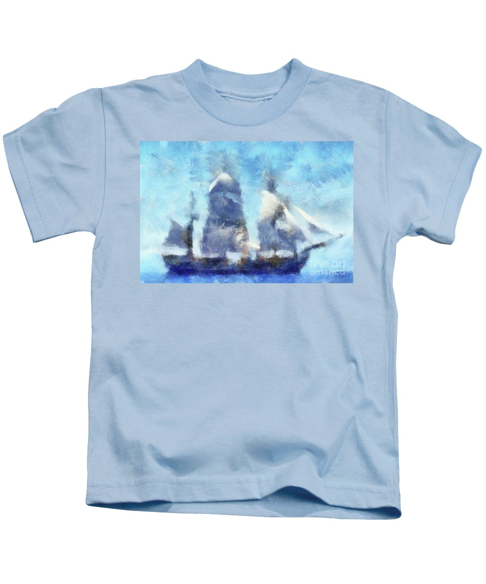 Sail Kids T-Shirt featuring the digital art Ships Ahoy by Sobano S