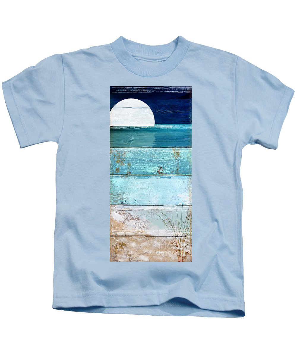 Beach Kids T-Shirt featuring the painting Shore And Moonrise by Mindy Sommers