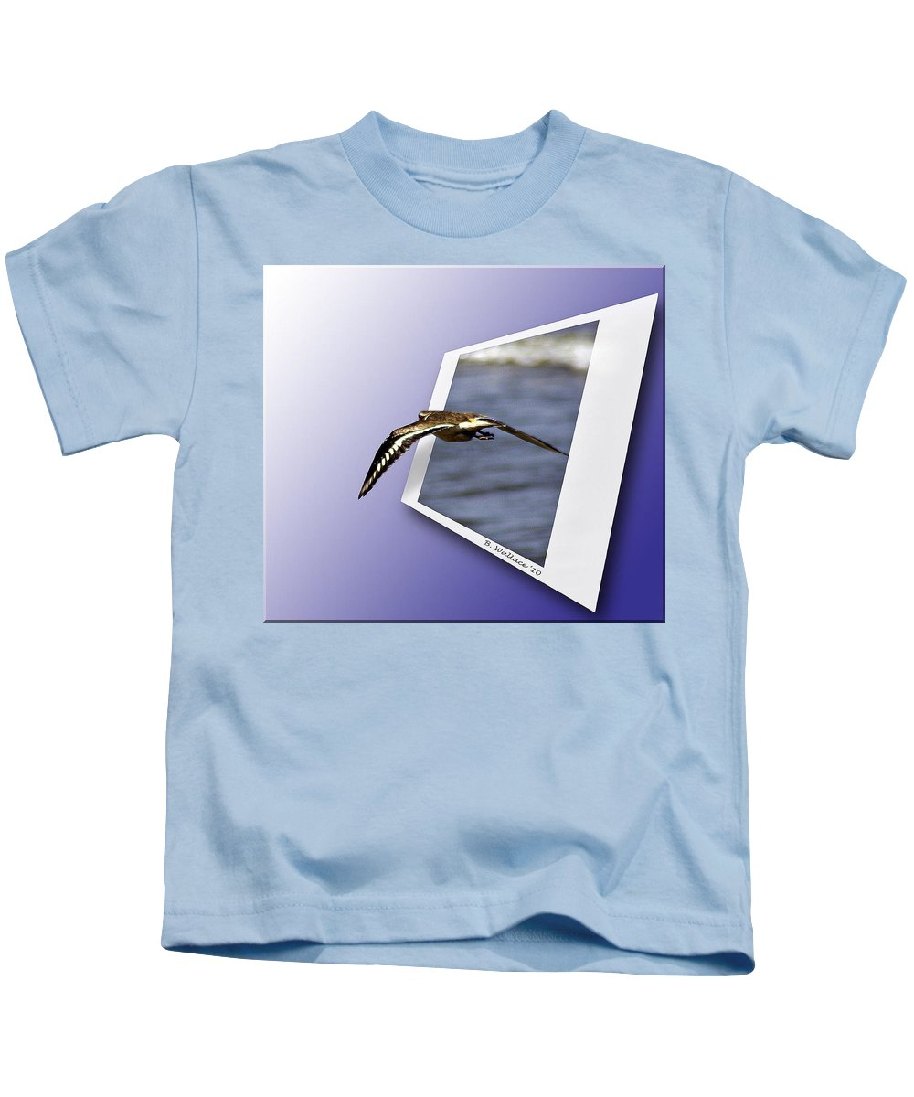 2d Kids T-Shirt featuring the photograph Shore Bird In Flight by Brian Wallace
