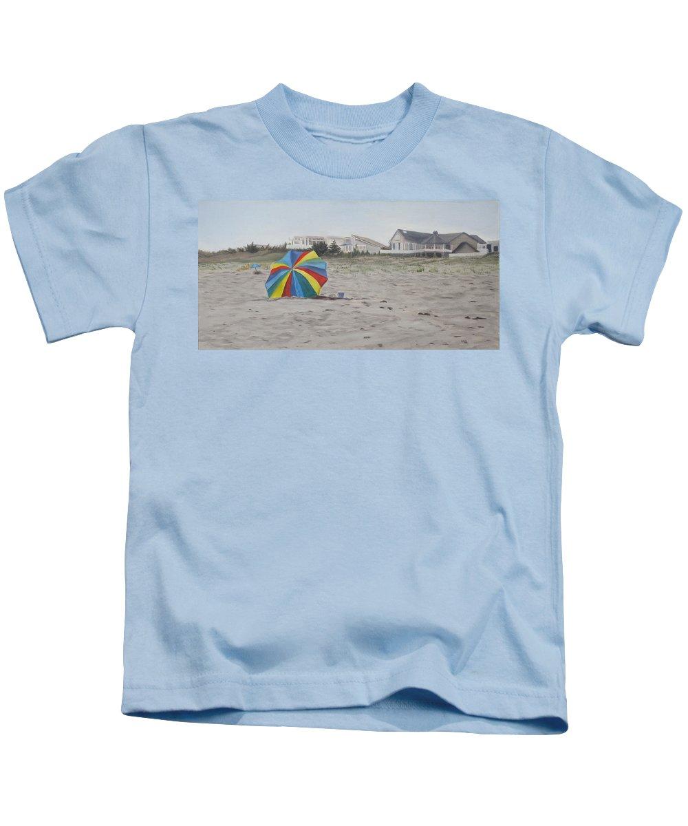 Beach Umbrella Kids T-Shirt featuring the painting Shore Dreams by Lea Novak
