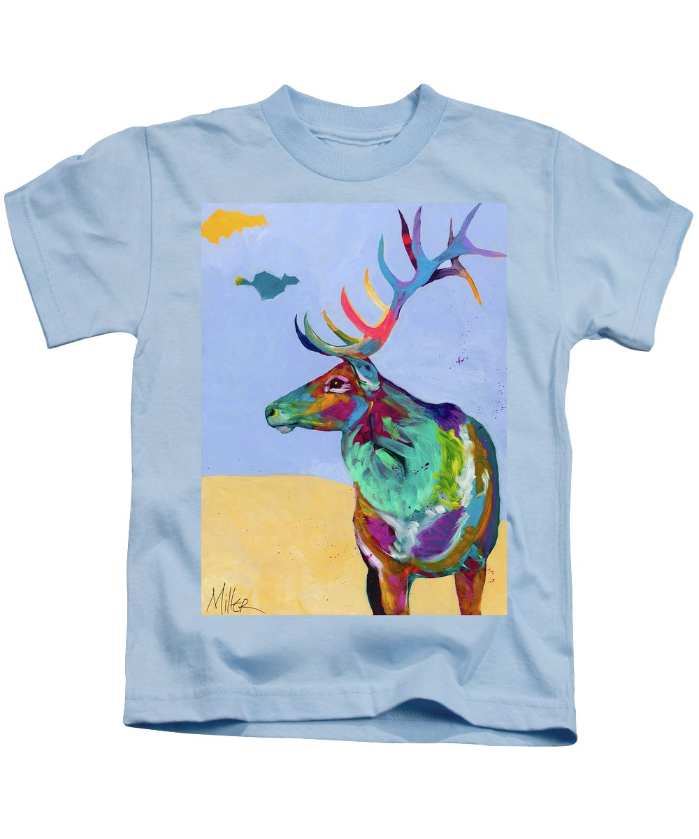 Elk Kids T-Shirt featuring the painting Silence In The Valley by Tracy Miller