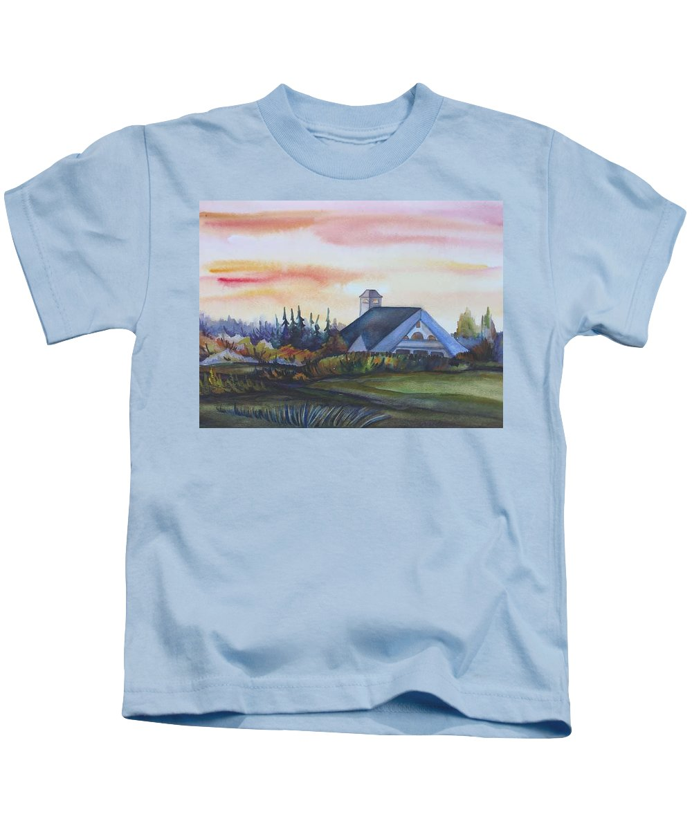 Watercolor Kids T-Shirt featuring the painting Silence Upon Midnapore by Anna Duyunova