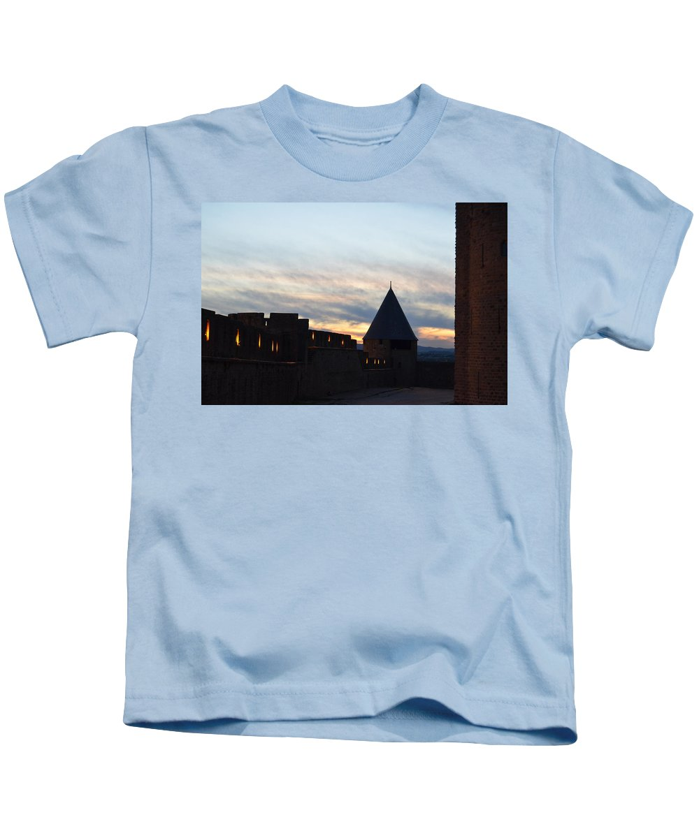 Silhouetted Kids T-Shirt featuring the photograph Silhouetted Castle by Dawn Crichton