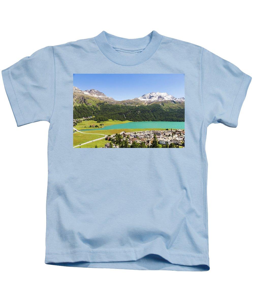 Corvatsch Kids T-Shirt featuring the photograph Silvaplana In Canton Graubunden, Switzerland by Didier Marti
