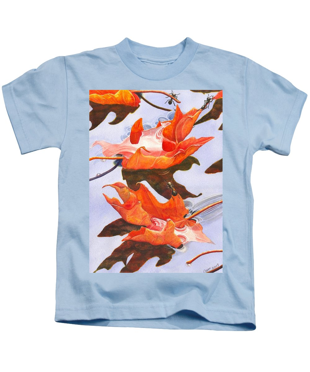 Leaf Kids T-Shirt featuring the painting Sinking Feeling by Catherine G McElroy