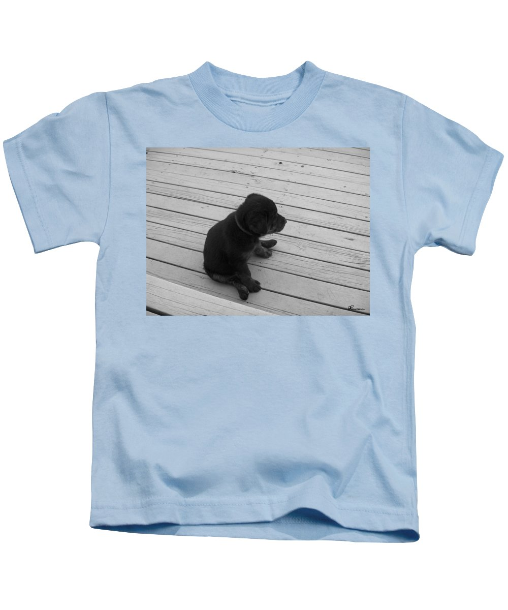 Puppy Dog Baby Relaxing Patience Black And White Photography Cute Kids T-Shirt featuring the photograph Sit And Think by Andrea Lawrence