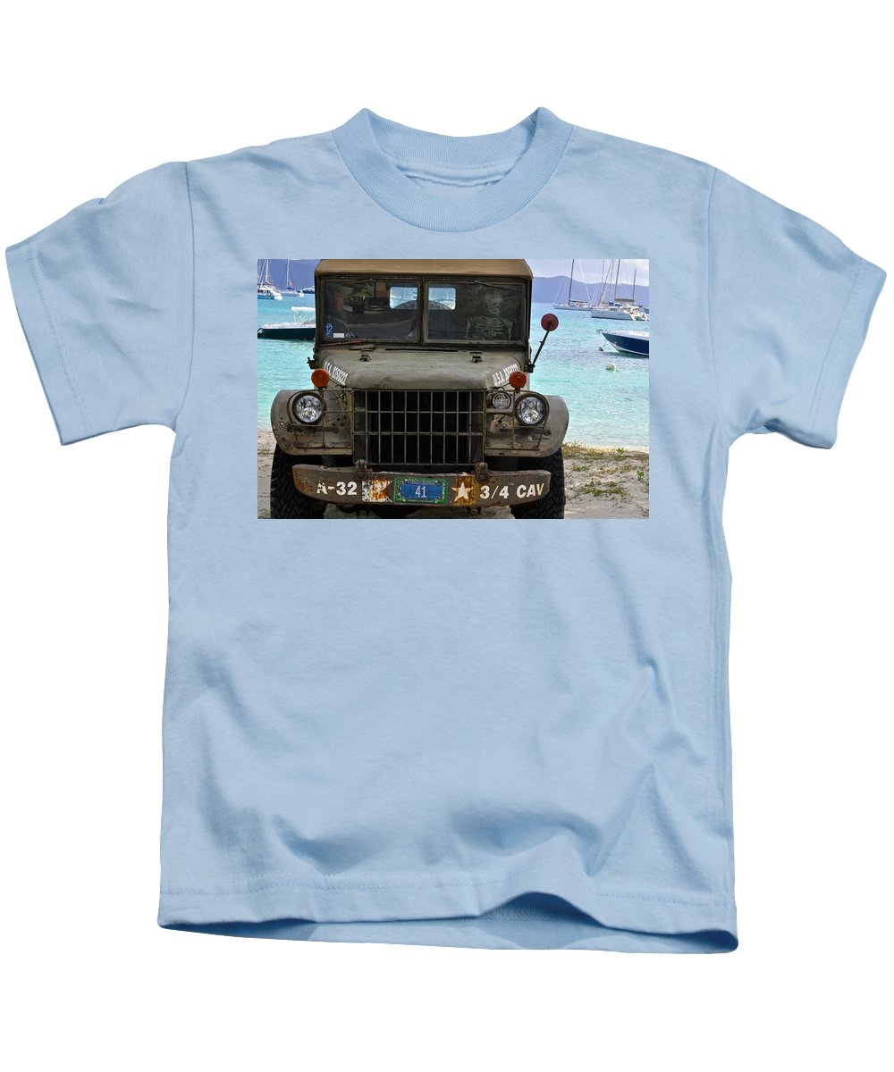 Jeep Kids T-Shirt featuring the photograph Skeleton Driver by Kristina Deane