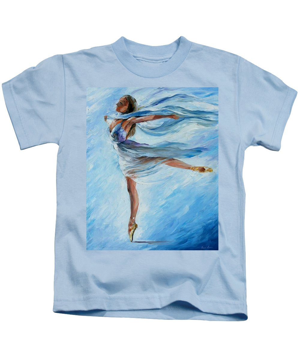 Ballet Kids T-Shirt featuring the painting Sky Dance by Leonid Afremov