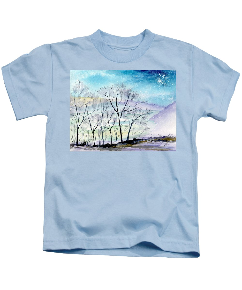Landscape Kids T-Shirt featuring the painting Skyburst by Brenda Owen