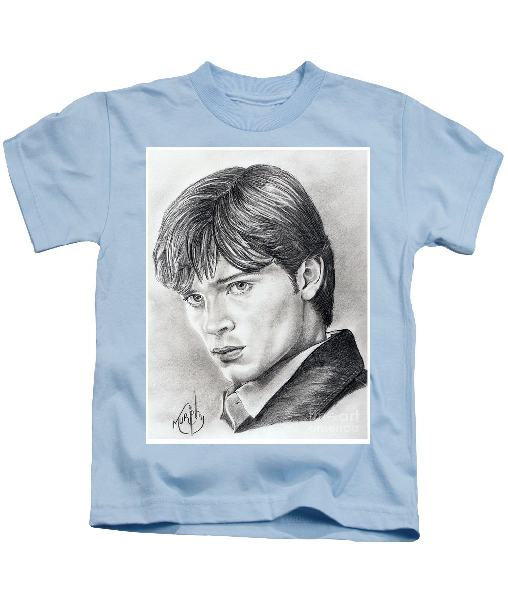 Superman Kids T-Shirt featuring the drawing Smallville Tom Welling by Murphy Elliott