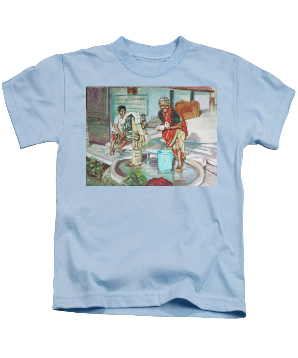 Usha Kids T-Shirt featuring the painting Smile Plz by Usha Shantharam