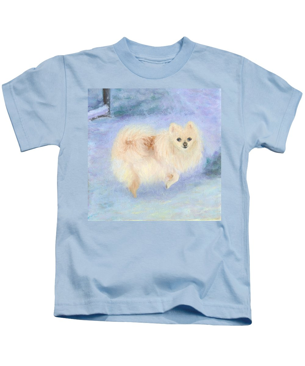 Dog Kids T-Shirt featuring the painting Snow Angel by Paula Emery