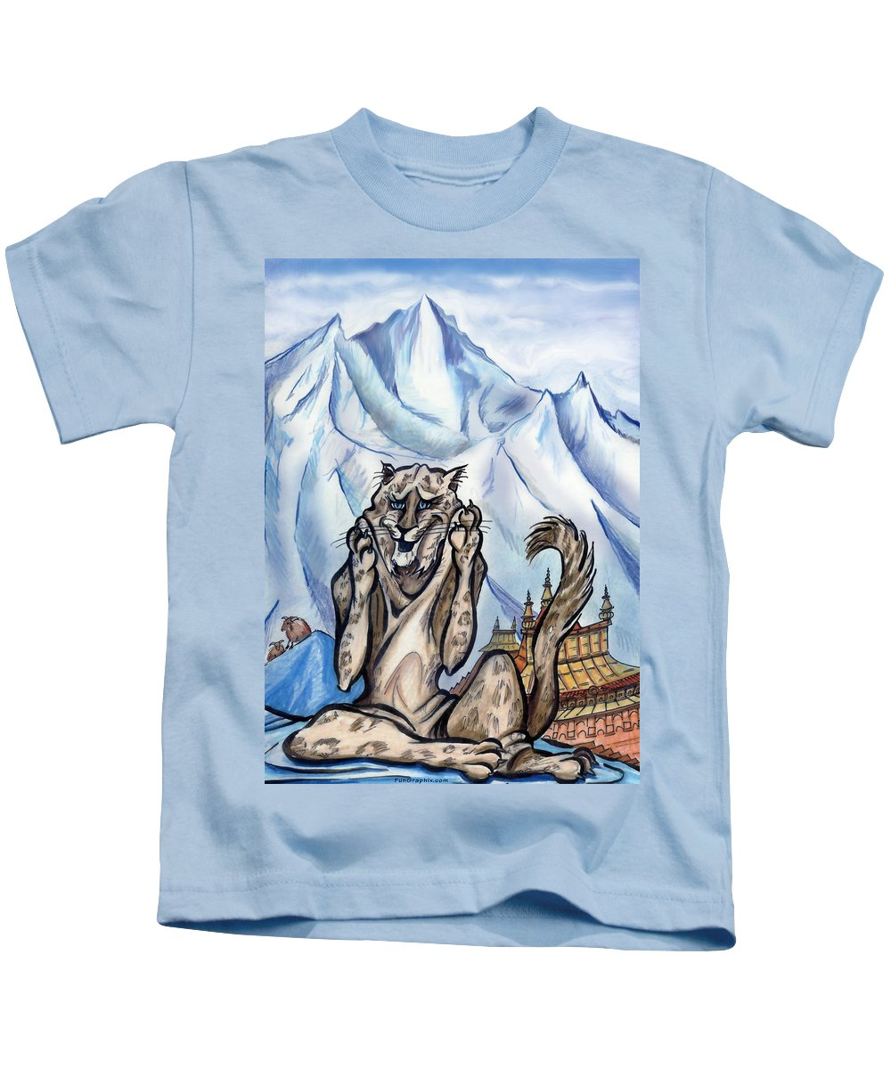 Ice Kids T-Shirt featuring the painting Snow Leopard by Kevin Middleton
