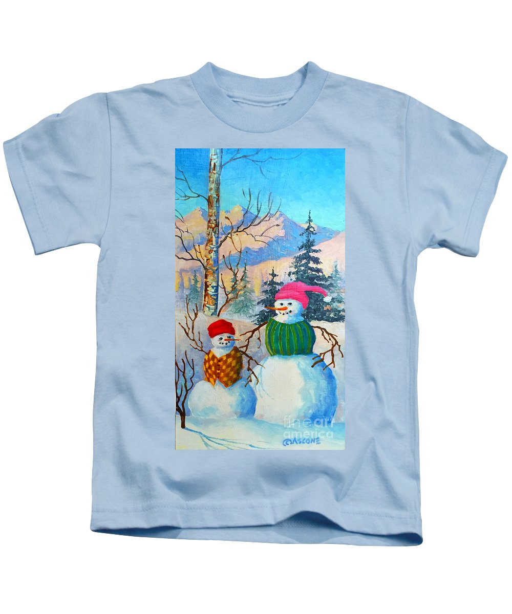 Snow Mom And Son Kids T-Shirt featuring the painting Snow Mom And Son by Teresa Ascone
