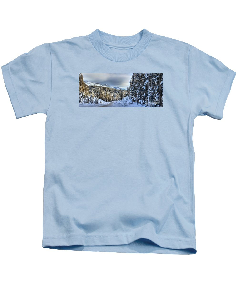 Bow Valley Parkway Kids T-Shirt featuring the photograph Snow On The Bow Valley Parkway by Adam Jewell