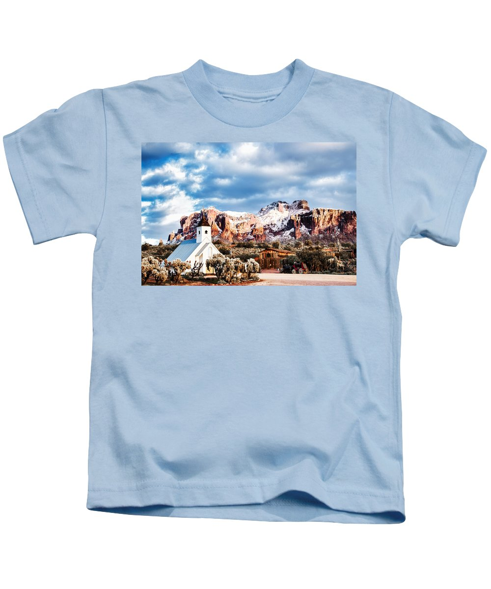Snow Kids T-Shirt featuring the photograph Snow On The Superstitions by Alan Ignatowski