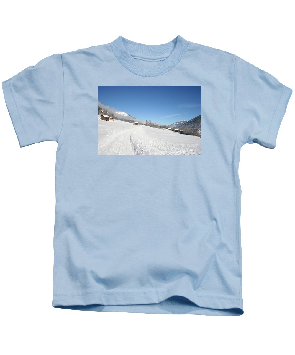 Field Kids T-Shirt featuring the photograph Snow White Field by Christiane Schulze Art And Photography
