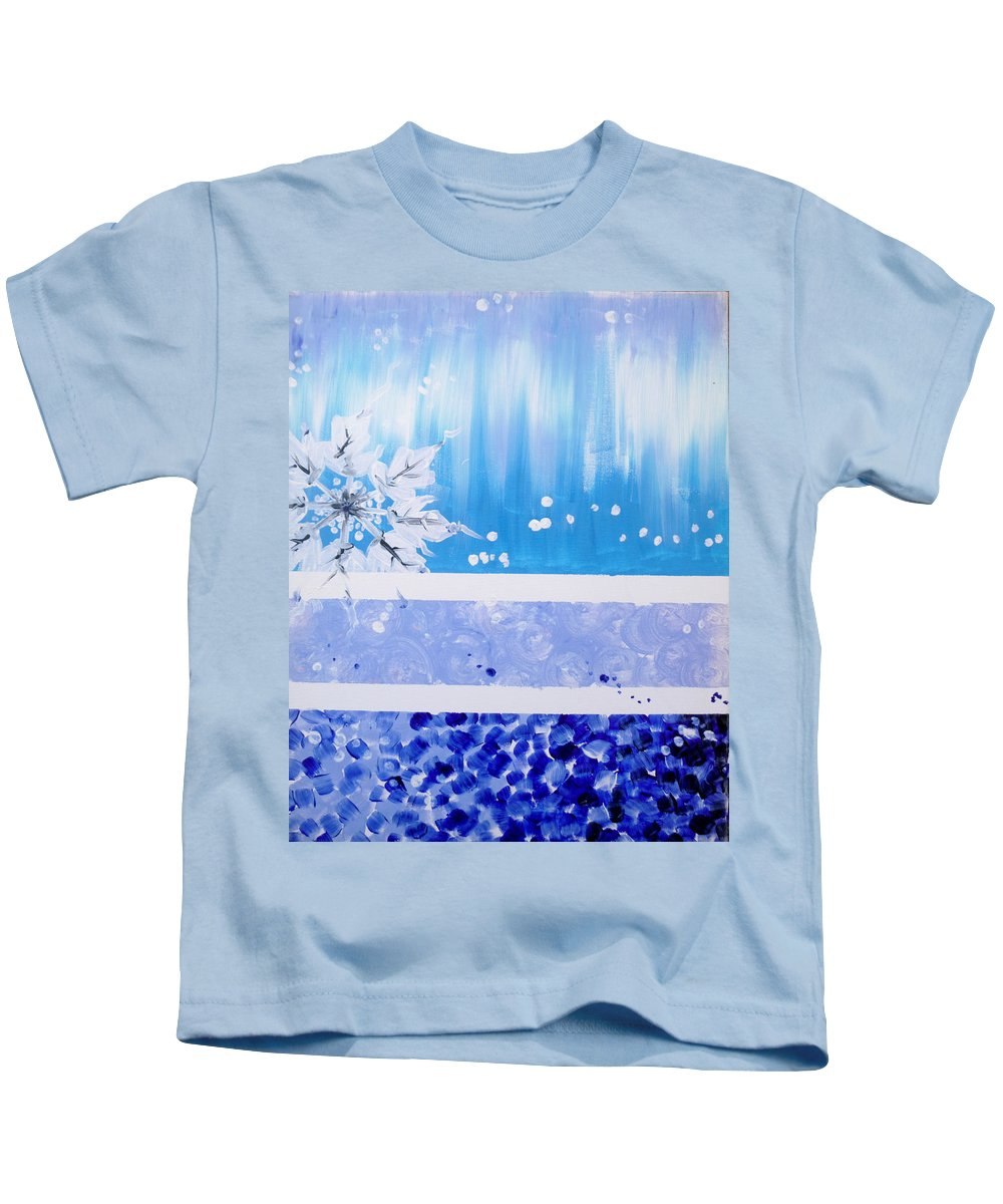Snowflake Kids T-Shirt featuring the painting Snowflake by Dip 'n Dab