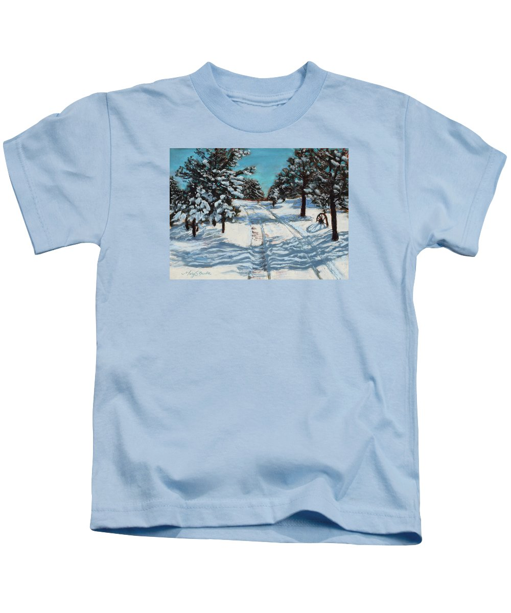 Snow Kids T-Shirt featuring the pastel Snowy Road Home by Mary Benke