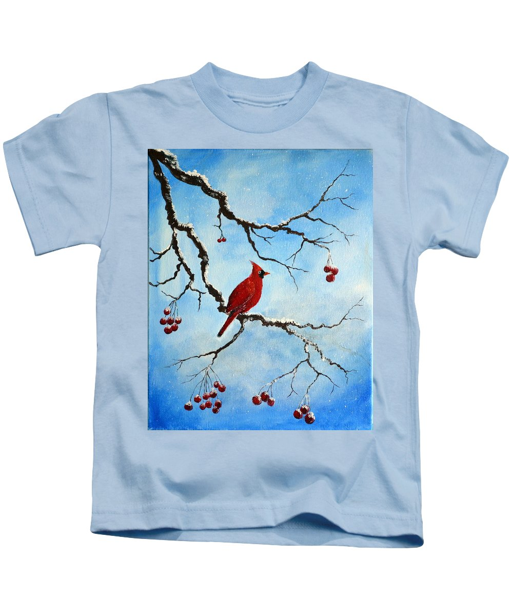 Snowy Wonder Kids T-Shirt featuring the painting Snowy Wonder by Deepa Sahoo