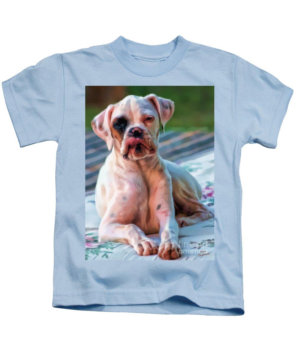 Dog Kids T-Shirt featuring the digital art So Proud by Kathy Tarochione