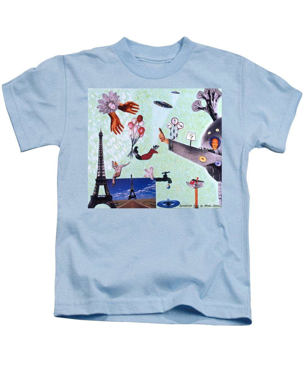 Eiffel Tower Kids T-Shirt featuring the drawing Soap Scene #27 Zelestial Headquarters by Minaz Jantz