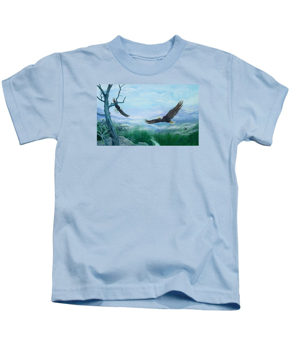 Eagles;birds;river Valley;mountains;sky; Kids T-Shirt featuring the painting Soaring by Lois Mountz