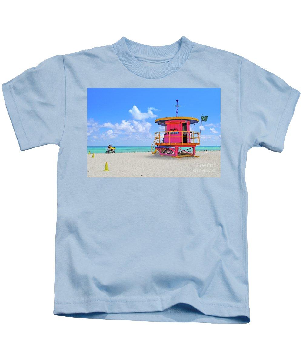 Sobe Kids T-Shirt featuring the photograph Sobe Lifeguard by Jost Houk