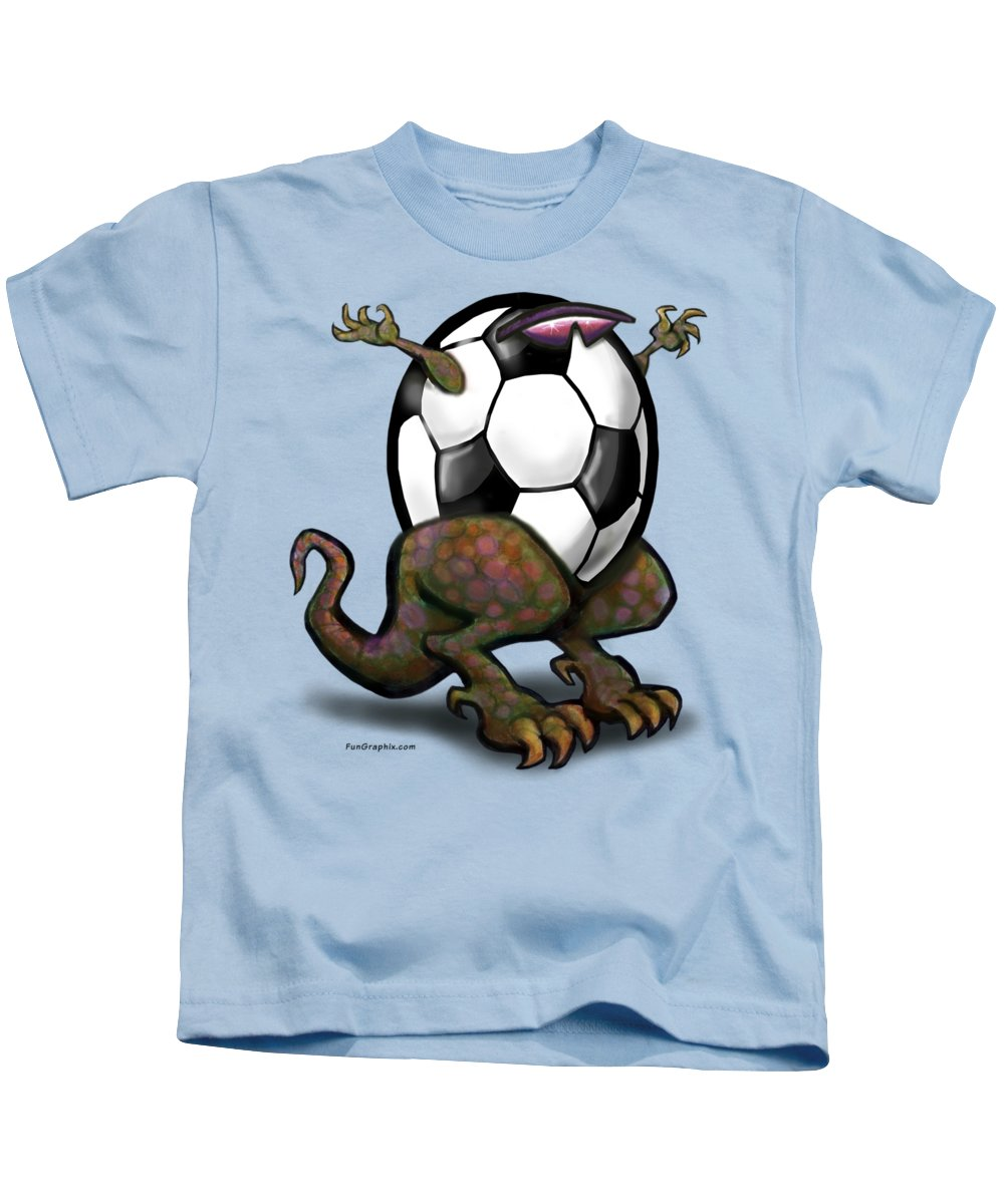 Soccer Kids T-Shirt featuring the digital art Soccer Saurus Rex by Kevin Middleton