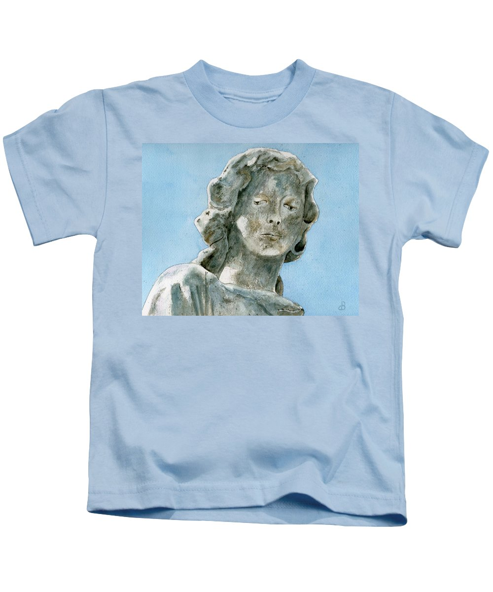 Portrait Watercolor Cemetery Statue Sky Woman Kids T-Shirt featuring the painting Solitude. A Cemetery Statue by Brenda Owen