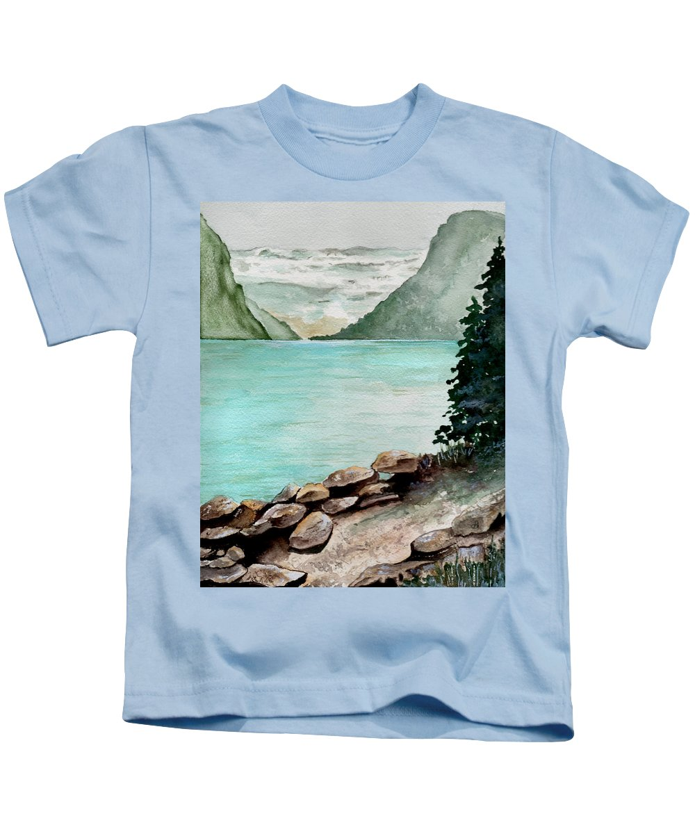 Watercolor Kids T-Shirt featuring the painting Solitude Of The Lake by Brenda Owen